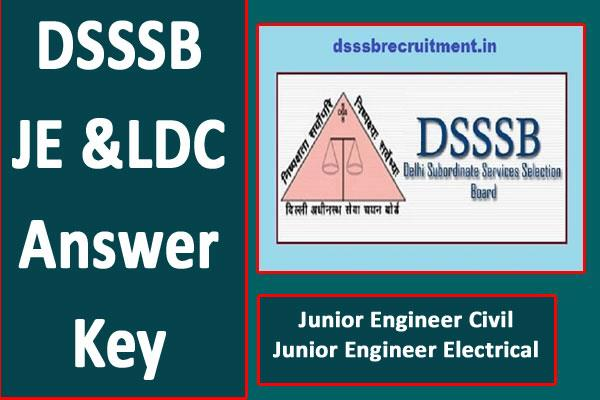 dsssb je and ldc 2019 answer key released for cbt exam