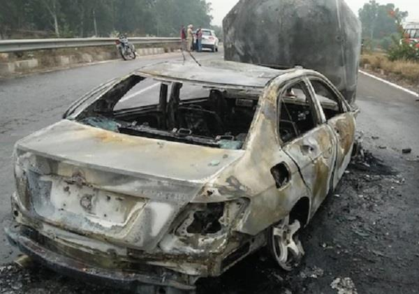 a moving mercedes car caught fire