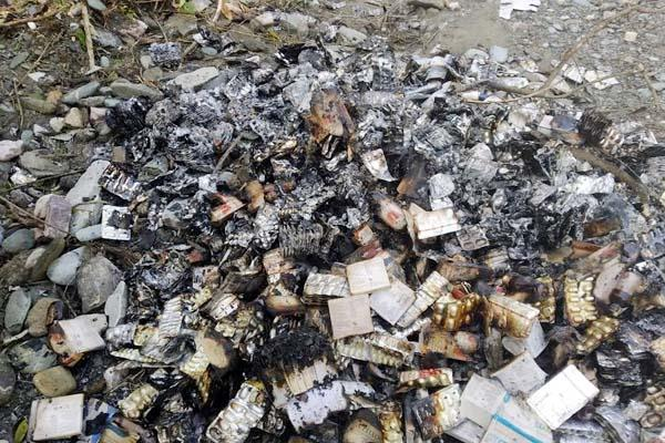 burning consignment of medicines found in sundernagar