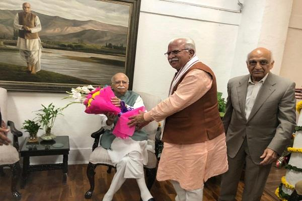 lk advani s 92nd birthday cm khattar congratulated on reaching home