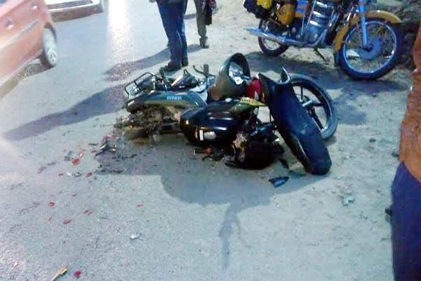 collision between bike and tanker