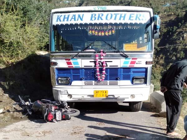 collision between bus and bike