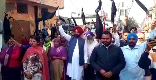 people protest against bikram singh majithia