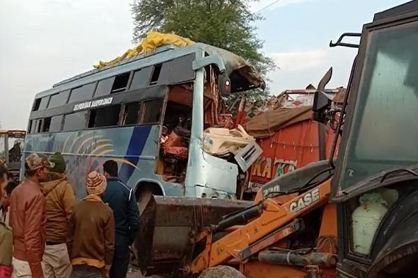 bus full of riders collided with a standing truck