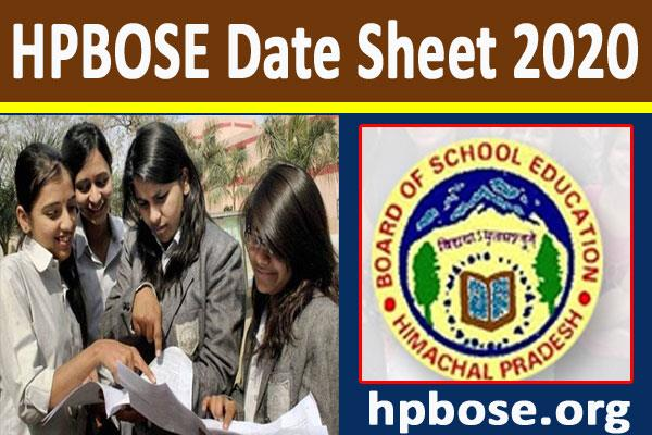 hpbose date sheet 2020 10th 12th datesheet released