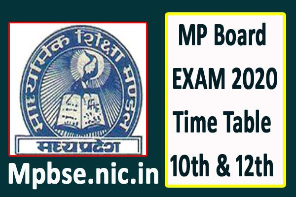 mp board 2020 time table of 10th and 12th class board exams released