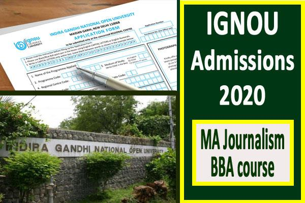ignou admission ma journalism and bba course from ignou