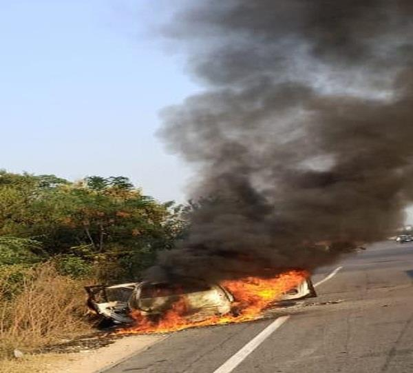 fire in car