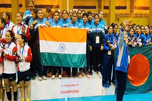 bilaspur saif games women s handball team gold medal