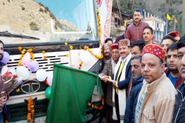 mla jiyalal flags off corporation s bus