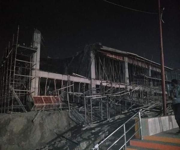 prayagraj construction of heliport building falls 2 workers drown