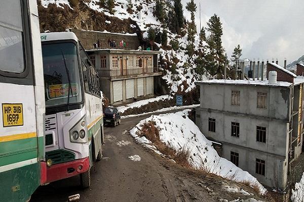 two buses of hrtc damaged in sundernagar