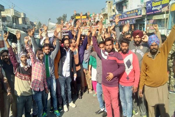 locals protested against the tower sangrur ludhiana road jam