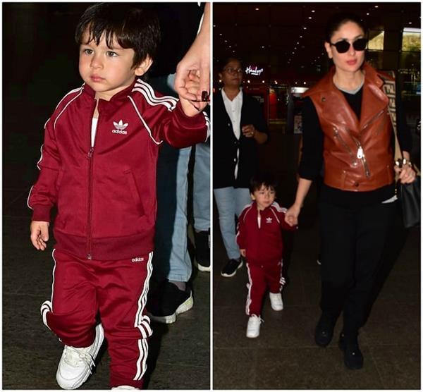 एयरपोर्ट पर मम्मी करीना के साथ स्पॉट हुए तैमूर, दोनों का दिखा अलग स्वैग