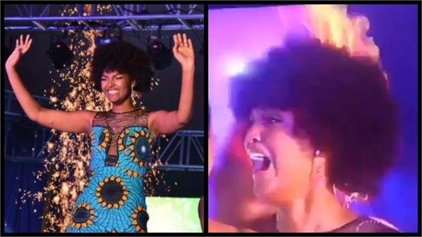 miss congo s hair catches fire after being crowned miss africa