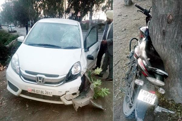 the horrific collision of cars and motorcycles person death