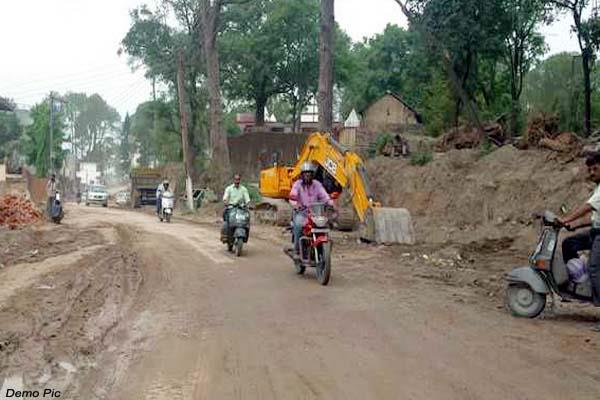 hang work of hamirpur mandi nh big trouble came in front of department