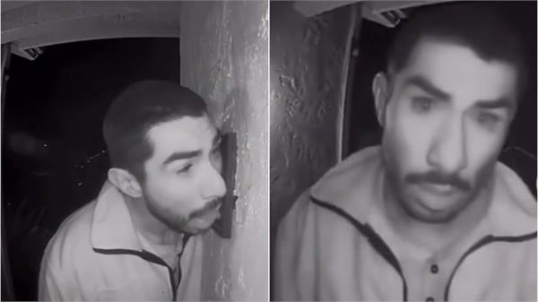man caught licking doorbell for three hours on camera