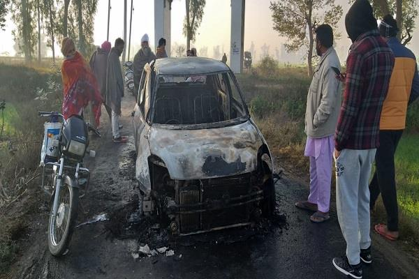 a fire in a moving car in moga youth saved by leaping