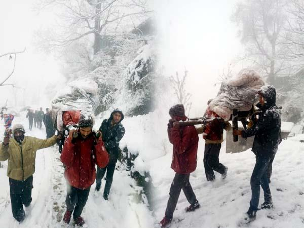 snowfall become problem pregnant woman carried on shoulders to hospital