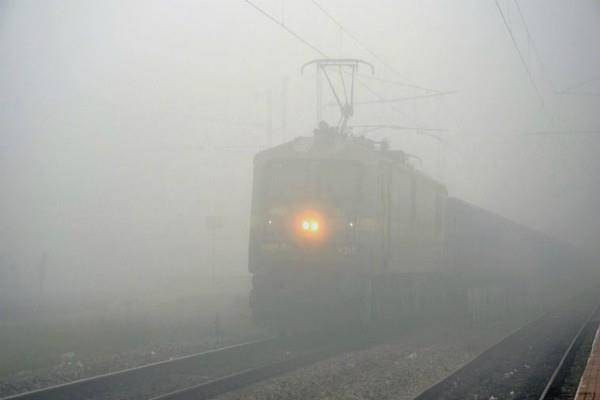14 trains late coming from delhi due to fog