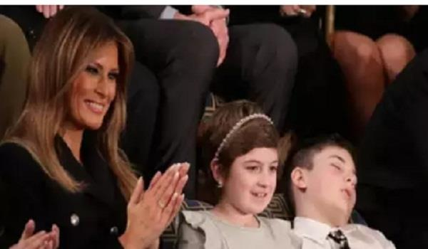 boy named trump who fell asleep during state of the union wakes a hero