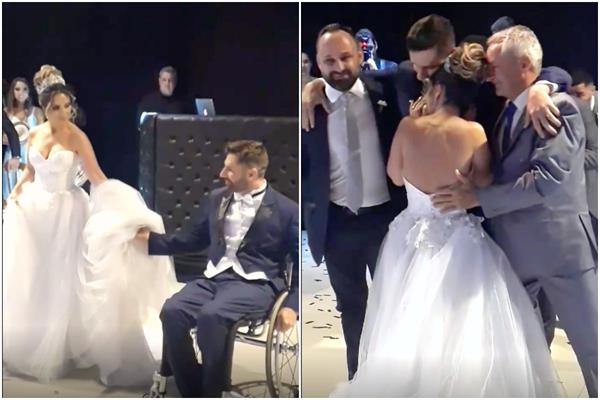 wheelchair bound groom stands for first dance with bride video viral