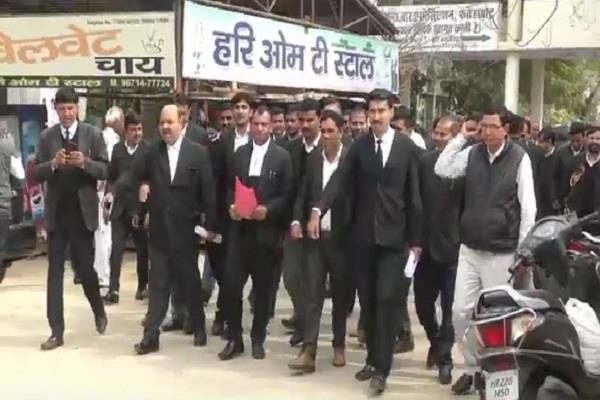haryana advocates showing strike are taking action against demands