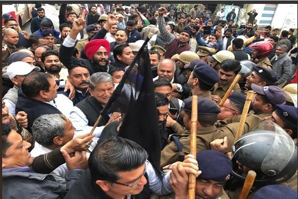 congress protest against pm modi rudrapur tour