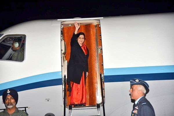 eam sushma swaraj leaves for dubai to attend ioc meeting