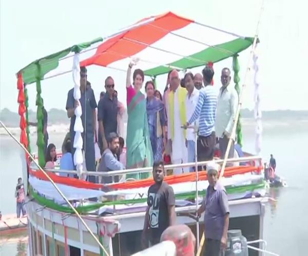 priyanka gandhi s boat journey begins worship at sangam coast