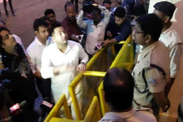 police did not give permission to tejashwi to meet lalu