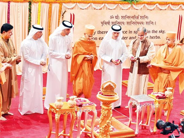first hindu temple s foundation stone laying ceremony in abu dhabi