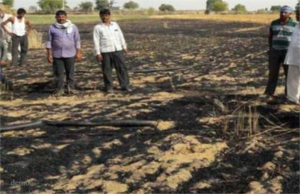 a fire broke out in jaunpur 40 acres of wheat crop
