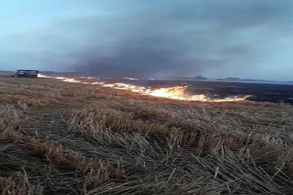 due to the breakdown of wire four acres of burnt field