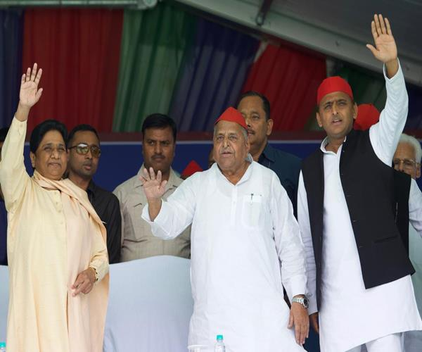 up mayawati and mulayam begin joint rally in mainpuri together after 26 years