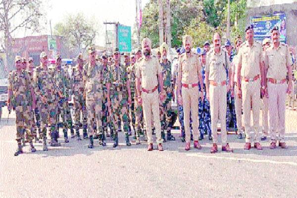 paramilitary force flag marches done in city