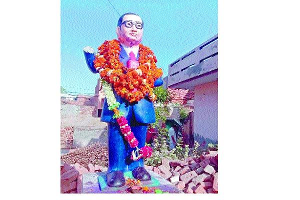 naughty elements broke the statue of dr ambedkar