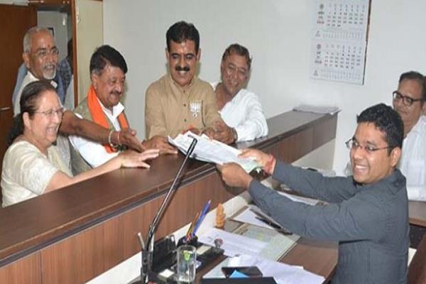 bjp nominee shankar lalwani filled the nomination