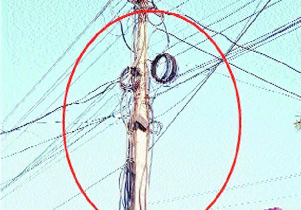 capture of cable wires on electric pole