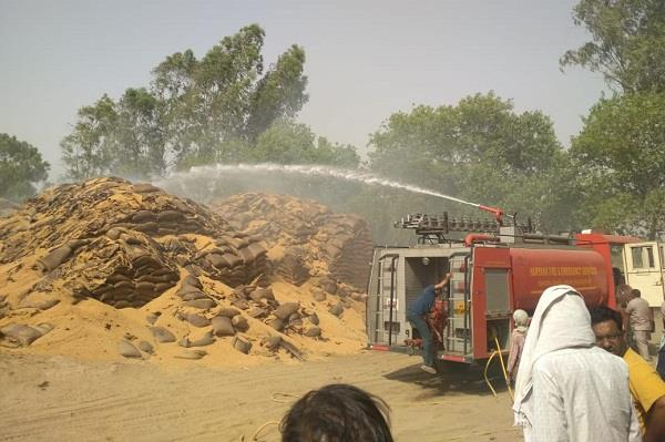 fire in warehouse of hafed wheat of 10 stocks burnt