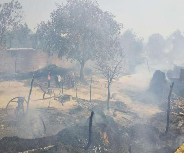 a fire in a village in etawah burns 30 houses
