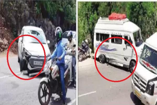 tampo traveler and car collision on the chandigarh manali nh