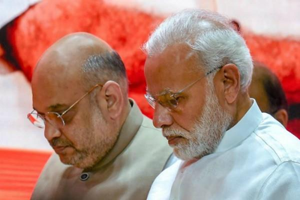 amit shah met pm modi this morning before the oath