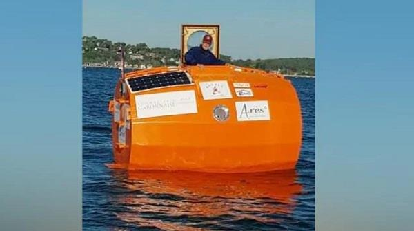 french man arrives in caribbean after crossing atlantic in giant barrel