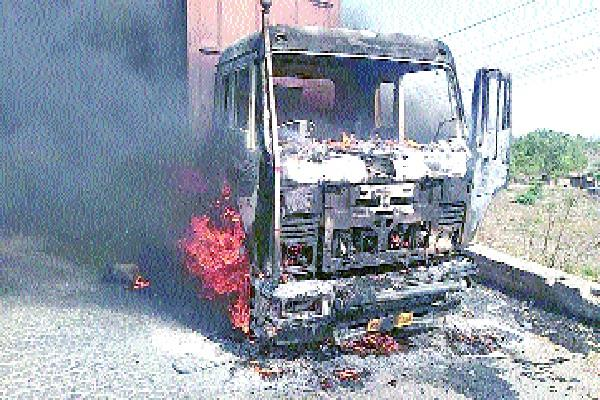 truck fire accident collapses