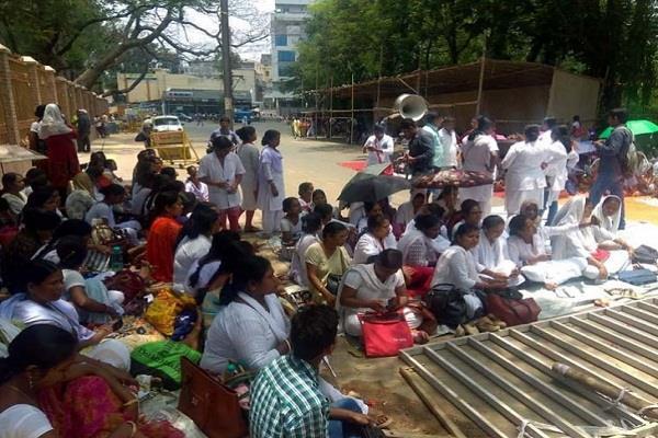 demand regularization anm gnm striking front raj bhavan push from police