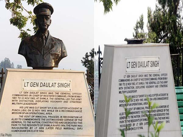 statue of lt daulat singh break by person