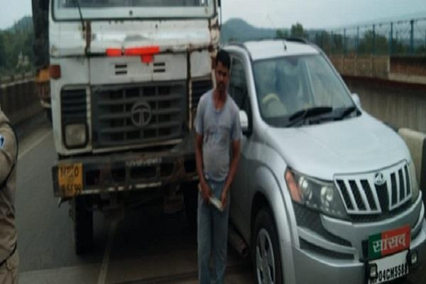 bjp mp dhal singh bissen victim of the accident