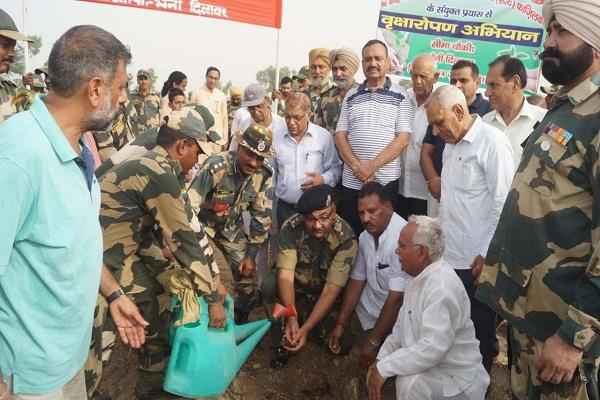 470 fruit plants planted by bsf and service bharti